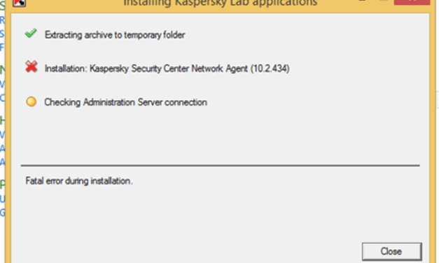 Kaspersky Network Agent: Fatal error during installation