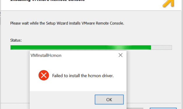 VMware VMRC: Failed to install hcmon driver