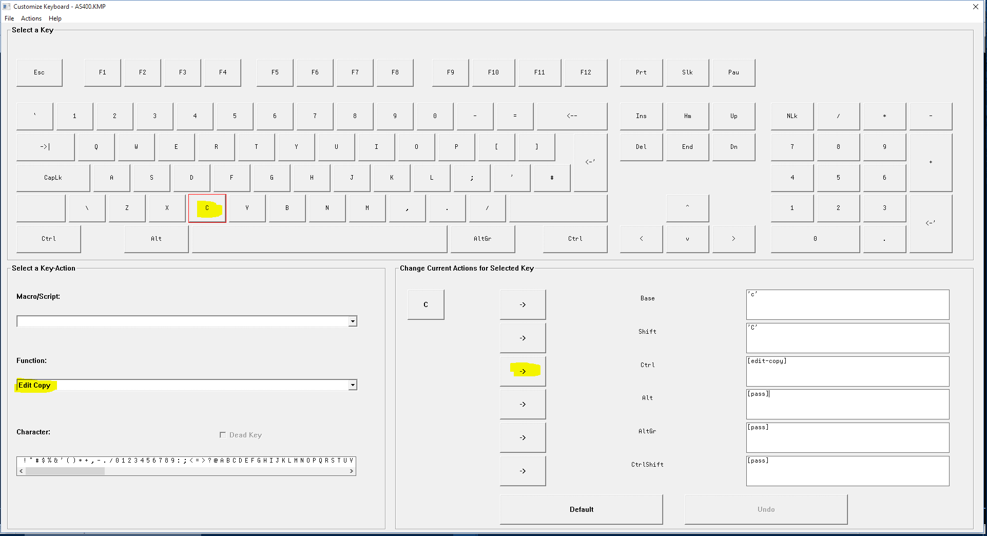 how to change shift function on keyboard league