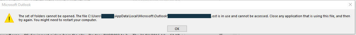 The set of folders cannot be opened