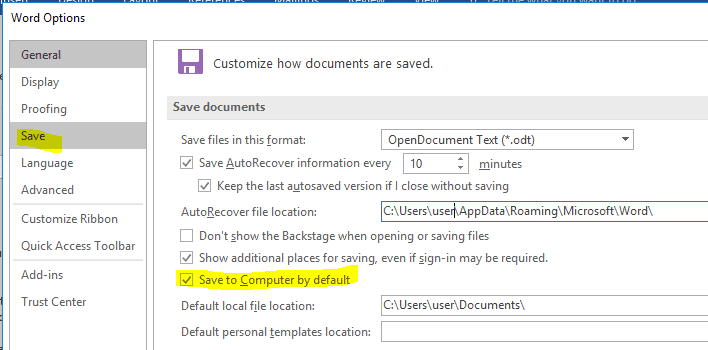 Microsoft Office - Setting the default save location to