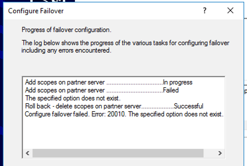 DHCP Failover – Error 20010 The specified option does not exist