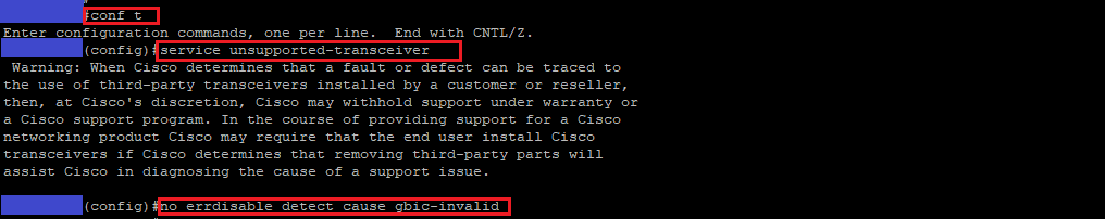 Cisco: Warning: SFP gbic-security check fail and gbic-invalid
