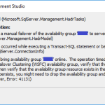 Unable to manually failover a SQL Availability Group