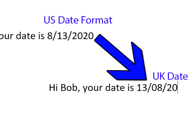MS Word Mail Merge – Changing a date field to UK format