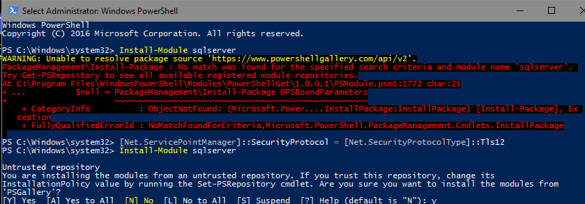 Powershell – Unable to resolve package source